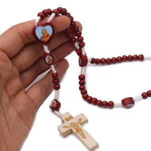 Fontes Santo Padre Nossa Senhora Redwood Beads Handmade Rosário Colar Cruz Catholic Religioso Reter Jóias Mão Rosário Outros festivo do partido
