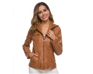 (XS-7XL Women Leather Jacket Women Hoodies Long Sleeve Zipper Tops عرضية الربيع الخريفي Black Faux Short Jack Jacket Outter