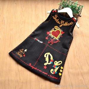 2020 Mädchen kleiden Sommer Ärmel Valentinstag Love Heart Printed A-Linie Prinzessin Dress Babykleider Kinder Designer-Kleidung (2-10Y)