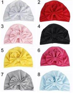 Kız Bebek Bow Pamuk Hat Bunny Kulak Avrupa Stili Turban ilmek Başkanı sarar Şapka 8Colors Bebek Hindistan Şapka Çocuklar Kış Beanie Caps