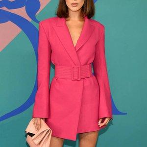 Designer Marque même style femmes robe Blazer 2019 Automne Nouvelle arrivée Fashion V Neck Cocktail Party Jupettes Mini robe