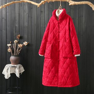 Winter Parkas Vintage Stand Collar Argyle Jacquard Flower Medium-Long Womans Cotton Padded Coats Black Red Button Overcoat Thick