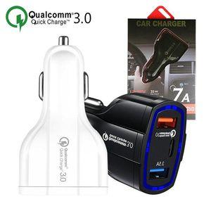 QC3.0 Mini USB de doble cargador de coche universal del enchufe de 2 puertos USB cargador doble adaptador de carga de tipo C Rápido cargador rápido móvil de carga
