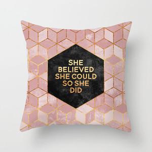 Fronha Marbling Geometric poliéster Sofá decorativa Glitter Capa de Almofada para Home Decor 45x45cm Peach Velvet Pillow 9styles RRA2905