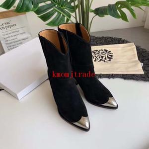 Orijinal Kutusu Paris Pist Isabel Lamsy Boots Marant Lamsy Süslenmiş Deri Bilek Boots Şık Sivri Burun Yığın Konik Topuk Ayakkabı