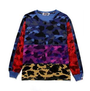 Venta al por mayor Pullover Camo luminoso chaqueta de punto suéter sudaderas con capucha de los hombres sueltos Hip Hop con capucha con capucha chaqueta con capucha