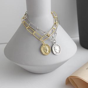 LouLeur 925 estilo indústria cadeia quadrado de prata pulseiras figura moeda temperamento moda pulseiras do sexo feminino jóias