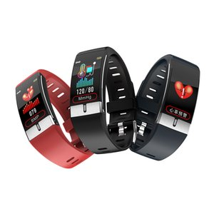 E66 Fitness Tracker Bracciale Temperatura corporea ECG intelligente Bracciale monitor di frequenza cardiaca di Smart Watch Control Musica Sport Banda VS T1