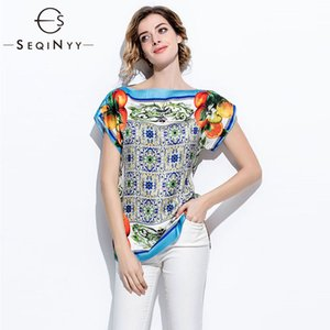 SEQINYY Summer Top Orange Fruits Printed Blue Porcelain Fashion Runway Short Sleeve Loose Blouse Y200701