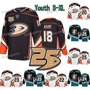 Gençlik 25 Yıldönümü 18 Patrick Saçak Anaheim Ördekler Jersey 20 Jason Chimera 24 Carter Rowney 25 Ondrej Kase Çocuklar Özel Hokey Formaları