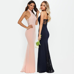 2020 New Women Sexy Elegant Halter Evening Mermaid Dress Backless Lace stitching Banquet Party Long Dress Ladies Formal Dresses