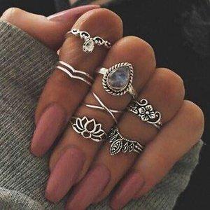 Ретро Ажурный Цветок Gems Геометрия 7 шт. Набор Бирюзовая Луна Arrow Loop Fashion Ring Set Богемный наращиваемый набор для девушек