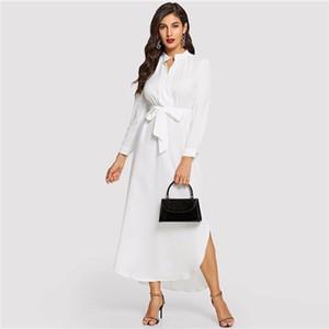 2019 Bianco Minimalista Scollo a V A Line con cintura Longline Shirt Dress Donna 2019 Primavera elegante abiti da lavoro vita alta
