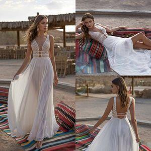 Asaf Dadush Sexy Robes De Mariée Sur La Plage 2019 Profonde Col En V Dentelle Dos Nu Boho Robe De Mariée Robes De Mariée Sur Mesure