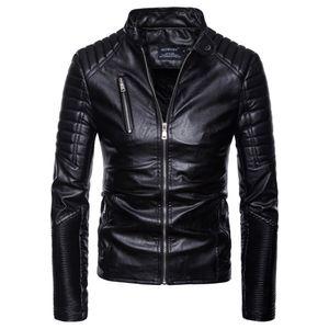 Mens Leather Outono Inverno Casual manga comprida Fique Sólidos Brasão de couro da motocicleta Top Asiático Tamanho S-2XL