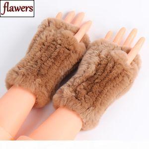 New Casual Girl Natural Real Rex Rabbit Fur Gloves Women Good Elastic Knitted Rex Rabbit Fur Mittens Real Rex Rabbit Fur Gloves Y191112