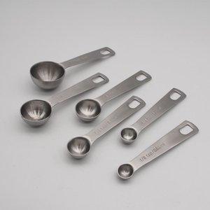 6 Pcs pratique rondes en acier inoxydable cuillères à mesurer Cuisine Tablespoon pour mesurer Sel Spice Sucre Autre cuisine Outils