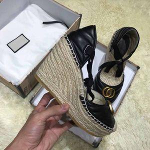 2020 Sandali con tacco di spessore spago luce di fondo intrecciato croce cinghia scarpe pescatore progettista selvaggio cuneo scarpe di tela di canapa comoda