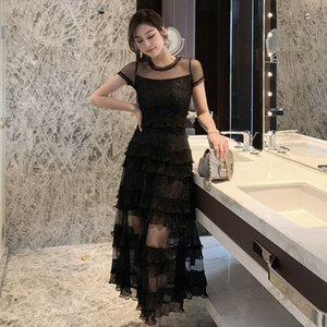 Lace dress short sleeve 2020 new style French retro skirt Yamamoto super fairy long skirt 1864