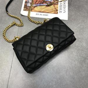 New Women Shoulder Bag Flap Bags Metal Chain Calfskin Gold-Tone Metal Black White Leather Designer Luxury Dinner Bag