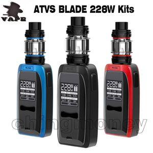 100% оригинал ATVS Blade Vape Mod Starter Kit 0,96 дюймов OLED Большой экран 228 Вт Двойной аккумулятор 18650 5 мл Subohm Распылитель E Сигареты DHL бесплатно