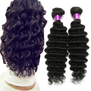 On Sale 8A Brazilian Deep Wave Virgin Human Hair Extensions Natural Black 8-32 Inches 4Bundles Brazilian Virgin Hair Deep Wave Hair Wefts