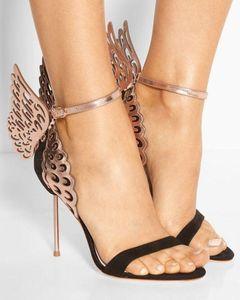 Venda quente-2019 Sophia Webster Evangeline Anjo Asa de Ouro Sandália De Couro Genuíno Bombas De Casamento Rosa Glitter Sapatos Mulheres Sapatos