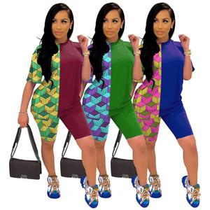 Con pannelli Stampa due cortometraggi pezzo solido casuale vestiti di colore girocollo manica corta estate delle donne Tute Designer