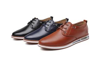 Nueva primavera para hombre Oxford Zapatos de negocios Suave Casual Breate Smart Casual hombres Pisos Oficina de negocios Vestido de zapatos de cuero 1A40