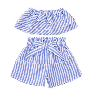 Baby Girl Off Blue Striped Suit Suit Bambini Girl Summer Vestiti One Word Shoulder Striped Costume set