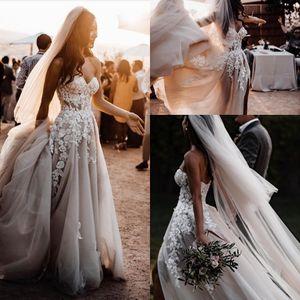 Chérie élégant dentelle une ligne Bohème Robes de Mariée 2020 Tulle Applique perles Cour train de Split robe de mariage