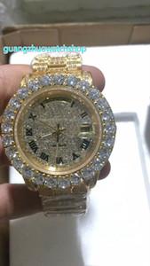 NUEVO reloj de diamantes lleno de moda reloj automático de puntas de los hombres reloj de 43 MM de oro caja de acero inoxidable cara de diamante reloj de diamantes completamente helado
