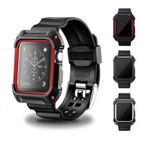 Estuche de reloj deportivo + correa para banda de reloj de apple 42mm 38mm pulsera de muñeca Banda de reloj de goma + cubierta protectora para la serie iwatch 3/2/1