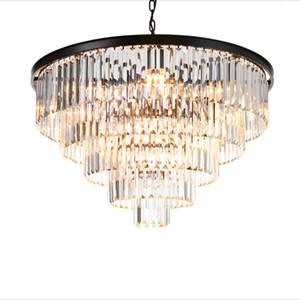 Chandelier de cristal moderno Luz elegante K9 Crystal Smoky Gray Crystal Suspension Lamparas para el restaurante Cafe Restaurant Hotel Iluminación