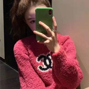Autumn winter web celebrity design letters ladies knitting sweater long sleeves plus warm pullovers sweater bubble sleeves ladies sweater s-