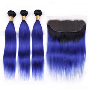 Tramas brasileiras do cabelo humano de # 1B / Blue Dark Root Ombre com fechamento frontal Ombre azul escuro 13x4 Frontal completo do laço com Weaves 3Bundles