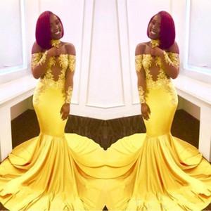 Nueva amarilla elegante fuera del hombro vestidos de baile de encaje de manga larga formal 2020 de la sirena apliques de raso vestidos de noche árabe BA7903