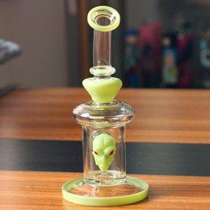 밝은 녹색 해골 디자인 유리 그릇 석영 소시지와 파이프 여과기 비커 흡연 8인치 유리 봉 물 파이프 물 담뱃대