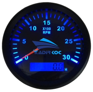 Pack of 1 Blue Backlight Marine 85mm Tachometer Gauges 0-3000RPM Rev Counter Instrument 9-32vdc with Hour Meter for Car Truck