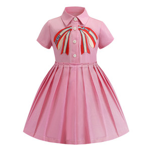 kids  Dress clothes Summer bowknot Embroidery Girls Princess Dress Cute Lapel short sleeve children Pleated Dress high quality Z11