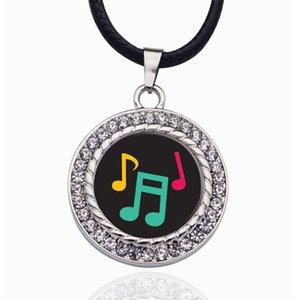 Müzikal Notlar Daire Charm Kolye kristal yıldız Kolye Zincir Kolye chokers için Moda Takı