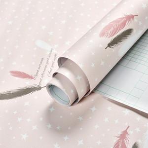 60CMx1M Cartoon Belle Fond d'écran auto-adhésif Rouleau chaud et doux Fond d'écran pour les enfants Chambre rose et bleu imperméable PVC autocollant