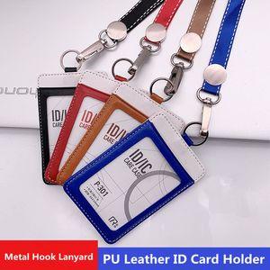 Exposition d'affaires PU cuir titulaire Double Carte d'identité Badge cas de travail ID Nom de la carte Tag Badge Avec Porte-cou Longe