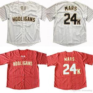 Ucuz Bruno Mars 24 K Hooligans Beyzbol Forması Bruno Mars Beyzbol Formalar Kırmızı Beyaz Erkekler Tüm Dikişli Beyzbol Formalar Ücretsiz nakliye