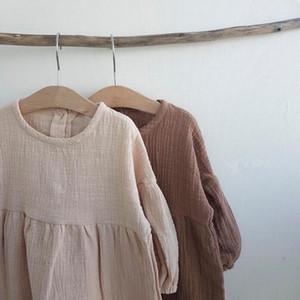 Kız Giydirme Latterm Prenses Elbise Keten Kız Clothings Ins Tatlı Bebek Çocuk Kız Elbise Günlük Japonya Kore Moda Giyim Y200102