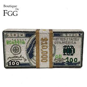 $ 100 (en stock) Stack Dollars Sac de trésorerie Rich argent Femmes cristal boîte d'embrayage soir Sacs cocktail Dîner et sacs à main