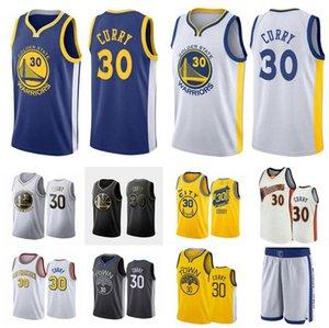 Herren-Basketball-GoldZustandKrieger30 StephenCurry weiß gelb schwarz Wingman ärmellos Jersey und kurze Hose