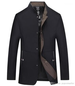 Jackets New Middle Aged Mens Outerwear Business Casual Thin Stand Up Collar Gentlemen Coats Mens Fashion Designer
