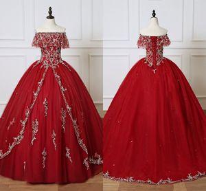 Borgoña Quinceañera Vestidos 2021 Vestido de baile barato largo Vestido de fiesta Sweet 16 Chicas Off Hombro Sliver Bordado Vestidos 15 ANOS