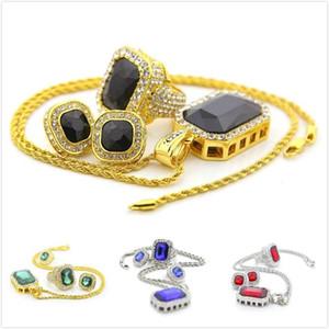 Новый персонализированный Mens золота Bling Красочные принцесса Cut Большой бриллиантовое колье серьги палец кольцо комплект ювелирных изделий Hip Hop Рэппер подарок для парней